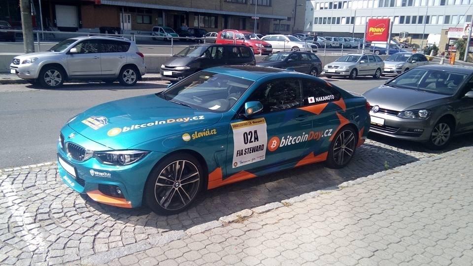 Auto Satoshiho Nakamata z Barum Czech Rally Zlín 2017 (sponzoruje BitcoinDay.cz a Slevíci.cz)