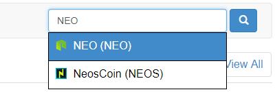 Hledací box na CoinMarketCap.com - NEO a NeosCoin (NEOS)