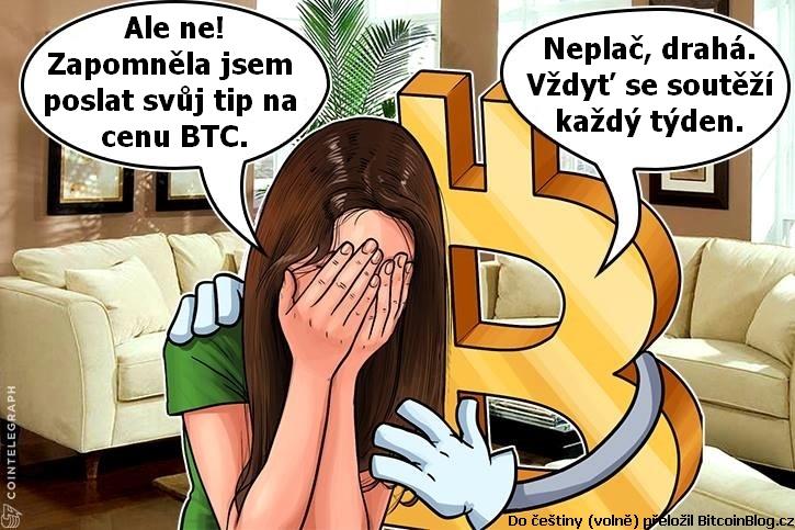 Kresba CoinTelegraphu: Ale ne! Zapomněla jsem poslat svůj tip na cenu BTC. Neplač, drahá. Vždyť se soutěží každý týden.