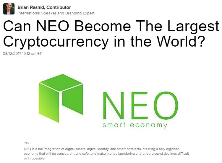 Screenshot článku Briana Rashida z Huffingon Post: Může se NEO stát největší kryptoměnou na světě?
