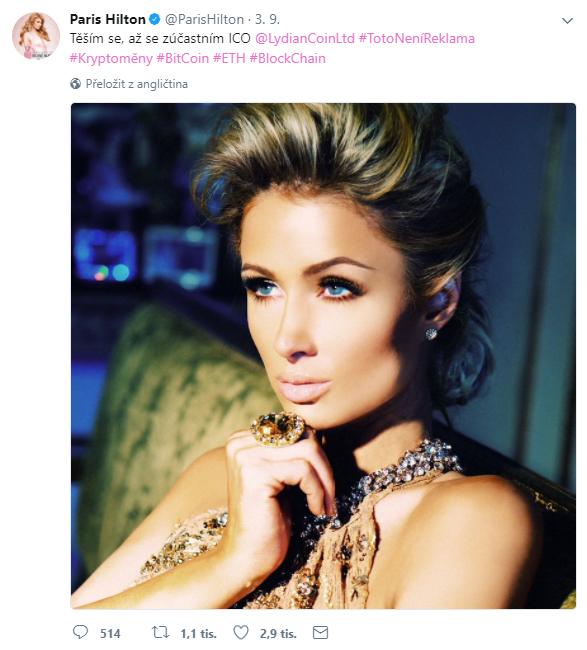 Paris Hilton na Twitteru: Těším se, až se zúčastním ICO Lydian Coinu