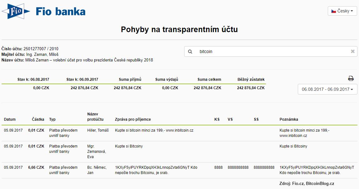 41772cf61e7 Na transparentním účtu Miloše Zemana se propaguje už i Bitcoin