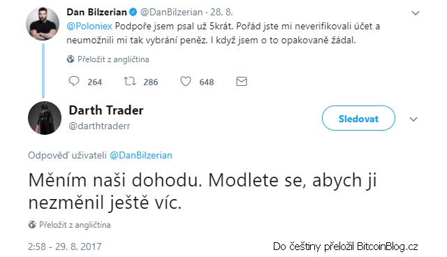 """Vtipná odpověď na Poloniexový tweet Dana Bilzeriana od Darth Tradera: """"Měním naši dohodu. Modlete se, abych ji nezměnil ještě víc."""""""