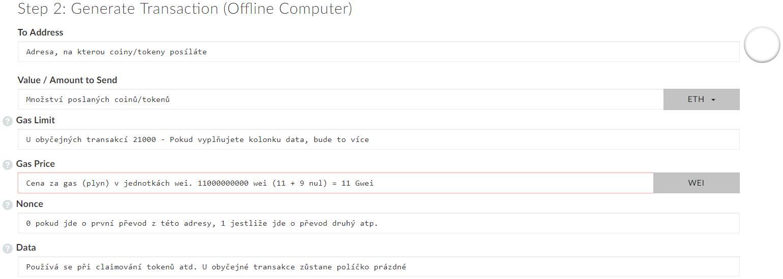Generování offline transakce v MyEtherWallet