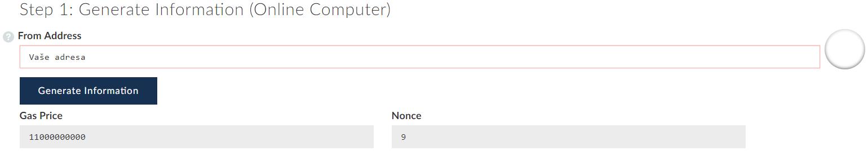 Vygenerujte si údaje k offline transakci na stránce MyEtherWallet.com