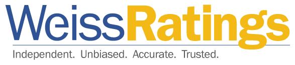 Fialovo žluté logo společnosti Weiss Ratings