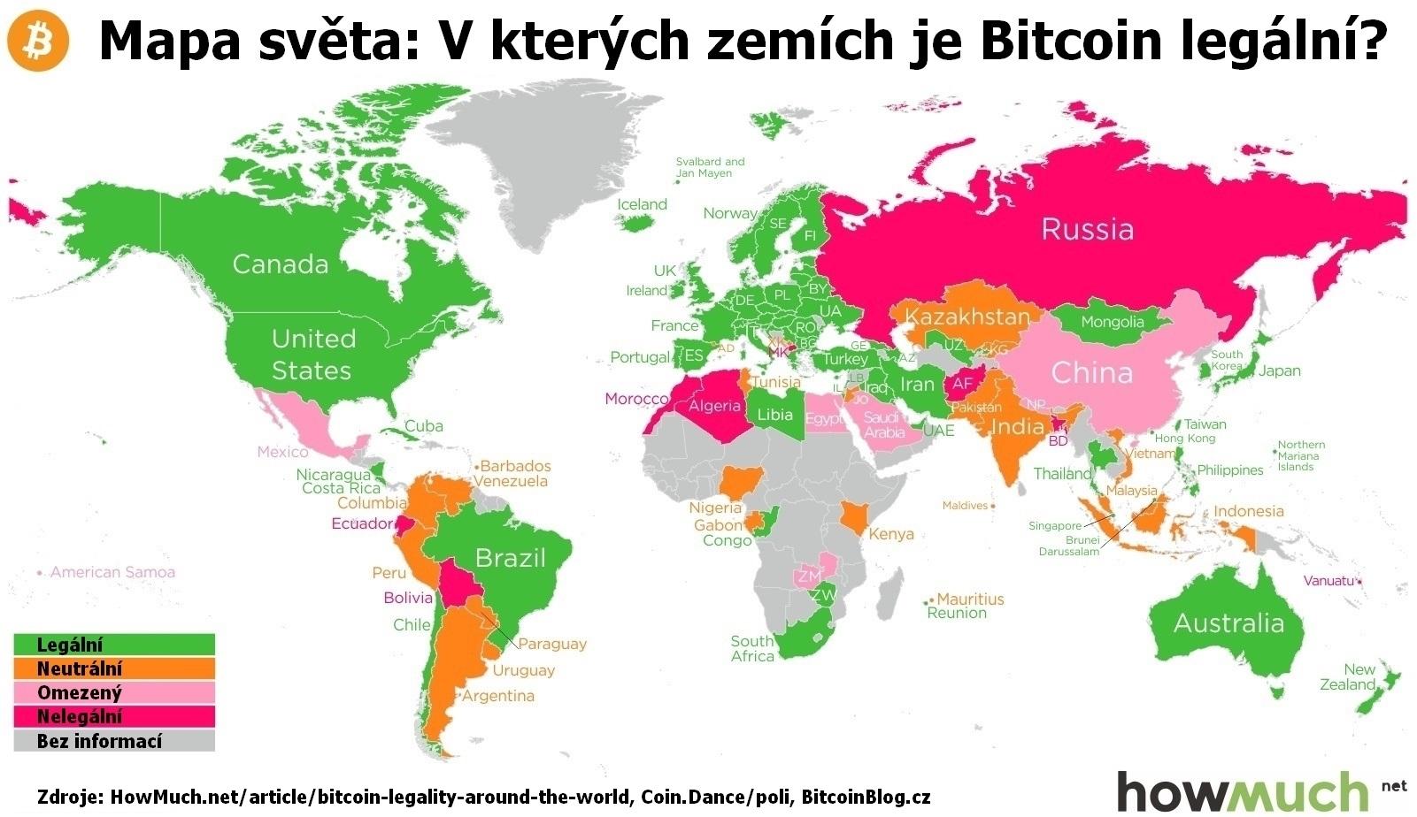 Infografická mapa světa: V kterých zemích je Bitcoin legální?