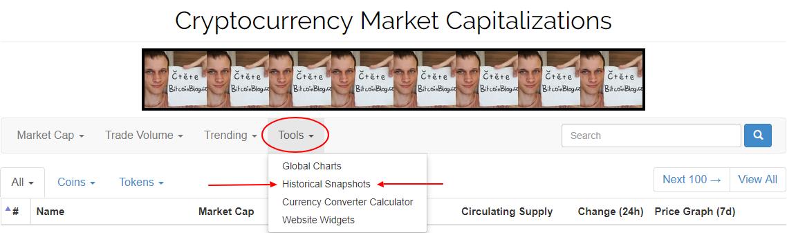 Kde najít historické žebříčky kryptoměn? Historic Snapshots na CoinMarketCap.com