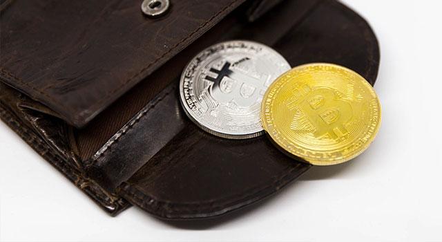 Peněženka se stříbrnou a zlatou BTC mincí