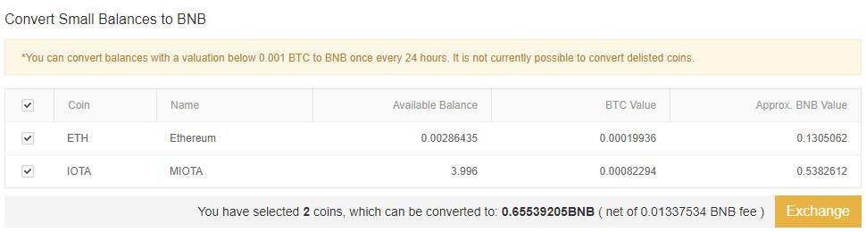 Přeměnte malé zůstatky na Binance tokeny