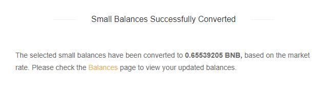 Přeměna zůstatku byla úspěšná (Binance.com)