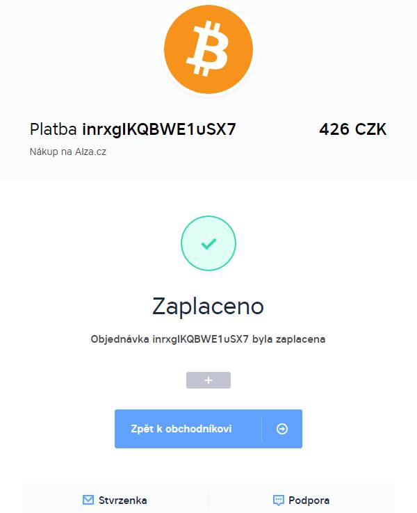 Nakoupeno na Alze, zaplaceno bitcoinem na BitcoinPay