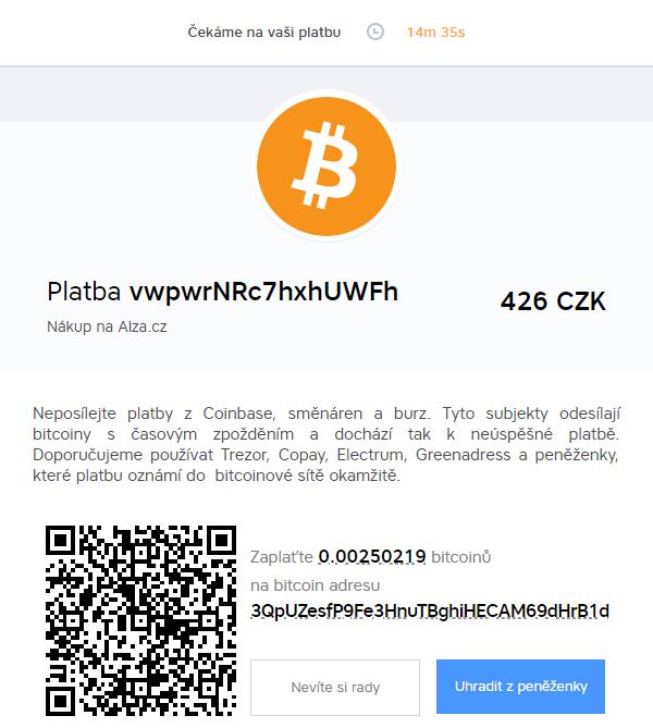 První bitcoinová platba - 15 minut (BitcoinPay.com)