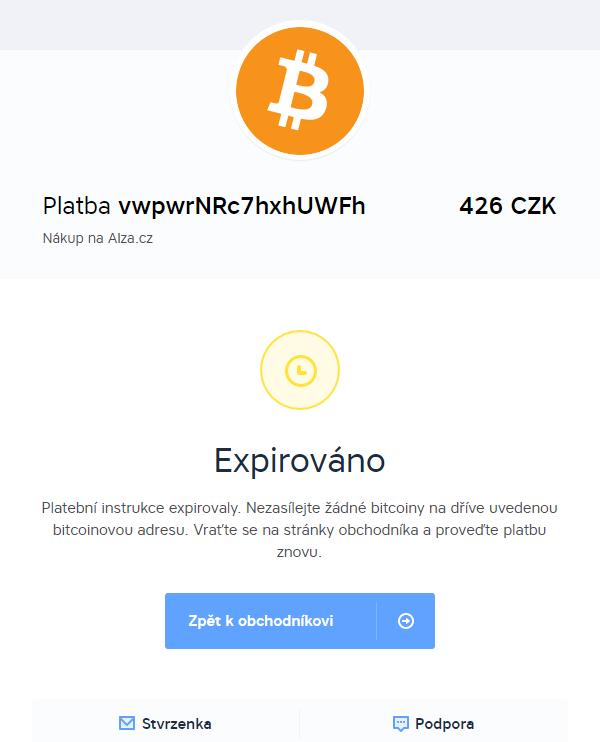 Bitcoinová platba expirovala (BitcoinPay.com)