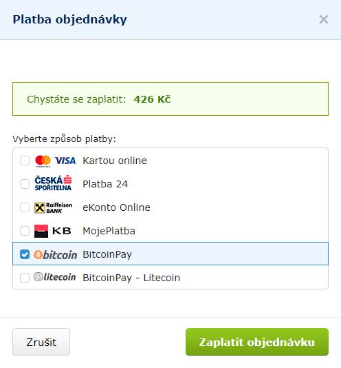 Nový výběr způsobu platby (Alza.cz)