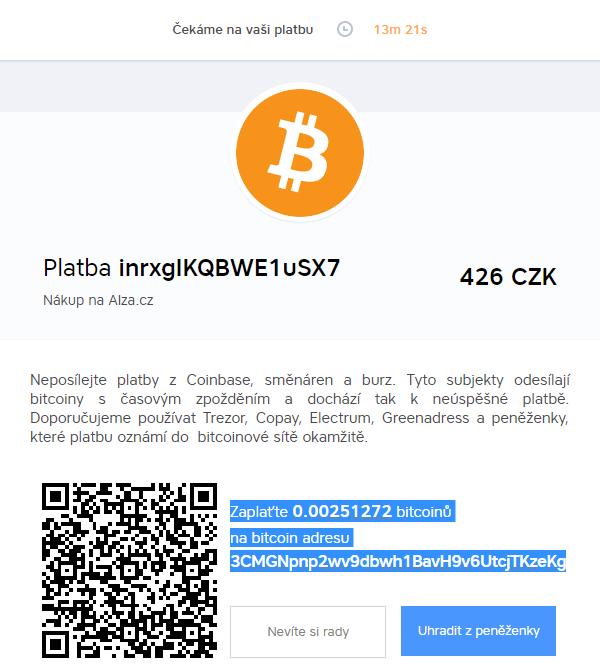 Nová patnáctiminutová platba (BitcoinPay.com)