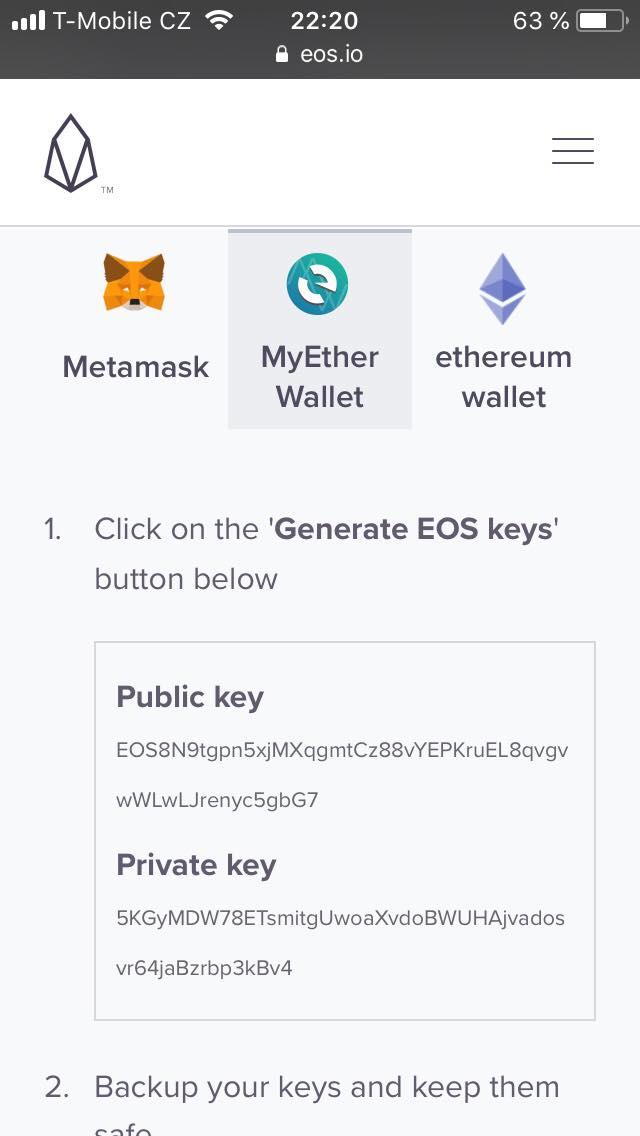 Nově vygenerovaný public i private key
